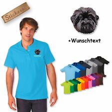 Polo Shirt Cotton Embroidered with Dog Affenpinscher + Text of your choice