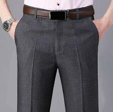 Men's Casual Cotton dress Straight easy-care Trousers formal Business Work Pants