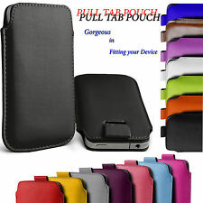 Universal PU Leather Pull Tab Cord Holster Case Cover Fits Various Mobile Phones