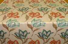 NEW PER METRE BLUE & ORANGE LARGE FLORAL PATTERN 100% COTTON FABRIC ASHLEY WILDE