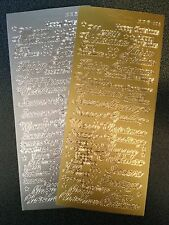 Two Sheets Peel Offs Christmas Mixed Greeting  Gold Silver