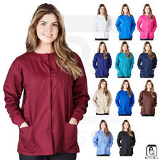 Womens 3-Pocket Snap Front Medical Hospital Nursing Warm Up Scrubs Jacket XS-5XL
