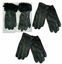 WOMENS THINSULATE LEATHER WINTER GLOVES  FLEECE SOFT LINED WARM LADIES GLOVES