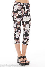 EX NEW LOOK Ladies CROPPED FLORAL JEANS WomensTrendy Cropped SUMMER TROUSERS