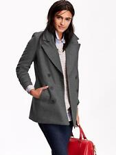 OLD NAVY WOMEN LONG CLASSIC WOOL BLEND PEACOAT  COAT JACKET CHARCOAL XS S M