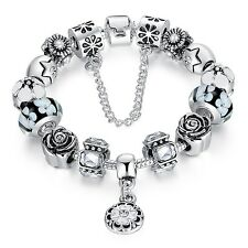 Hot European Silver Plated Glass Beads Crystal Charm Bracelet w Safe Chain Charm