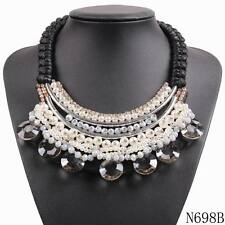 colorful bead big chunky statement choker collar crystal pendant women necklace