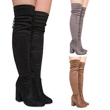 LADIES WOMENS HIGH HEEL THIGH HIGH BOOTS BLOCK HEEL SUMMER CASUAL PARTY SHOES