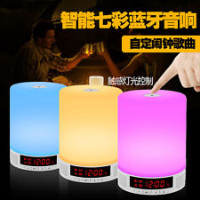 Wireless Bluetooth Speaker Music Sound Box with Alarm Clock Touch LED Table Lamp