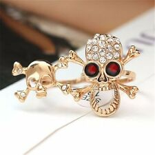 Chic Typical Gothic/Punk Gold/Silver Crystal Skull Two Finger Double Rings