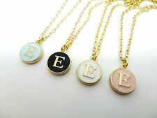 ROUND ENAMEL & GOLD LETTER E INITIAL CHARM  NECKLACE IN PINK BLUE BLACK OR WHITE