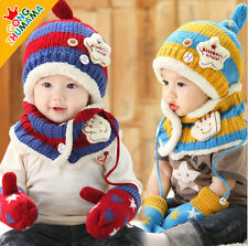 Baby Hat & Scarf Gift Set Cute  Kid Girl Hat Gloves Scarf Set Gift  8-36 Mths