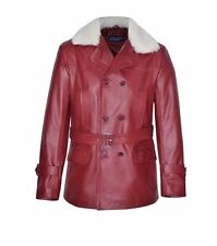 MILITARY PEA COAT' CHERRY FUR Men's Classic Hide Leather Jacket LONG LASTING
