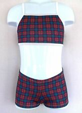 ADULT 2 PC BOOTY SHORTS & TOP, SCHOOL GIRL RED & BLUE PLAID, gym,dance