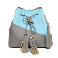 Tassel Women Bucket Bag Ladies Messenger Bags Double Colors Style Bolso