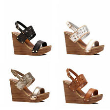 WOMENS LADIES PLATFORM WEDGE HEEL CUT OUT SLINGBACK SANDALS SHOES SIZE 3-8