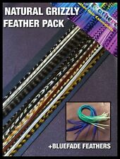"""Feather Hair Extensions Naturals BlueOmbre Grizzly Feathers 8-10""""Long Beads Kit"""
