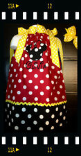 Custom Minnie Mouse center Applique DRESS NAME 6M 24M 2T 3T 4 5 6 7 8  Red  dots
