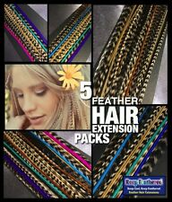 Feather Hair Extensions Naturals Mixed Lengths 12+4 Free Tools Beads Kit Options