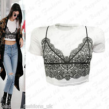 Ladies Womens Cap Sleeve Floral Paisley Lace Look Cropped Vest Top T-Shirt SM ML