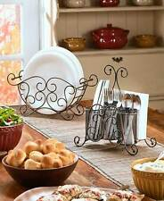 Buffet Caddy Black Metal Scrolled Plate Flatware And Napkin Holder Kitchen Set