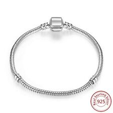 Sterling Silver European Snap Clasp Snake Chain Charm Bracelet in 8 Sizes