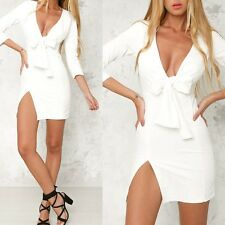 Women's Sexy Bandage Bowknot V-Neck Cocktail Party Night Wear Mini Short Dress