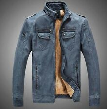 mens motorcycle cowboy retro Fur Lined leather stand collar jacket coat Outwear