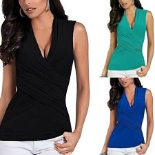 Summer Women V Neck Bandage Cross Over Bodycon Top Tunic Blouse Party T-Shirt