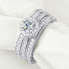 0.8Ct 3pcs Round White CZ 925 Sterling Silver Heart Wedding Ring Set Size 5-10