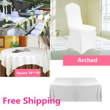 WHITE Polyester Tablecloth TABLE COVER CLOTH Banquet Wedding CHAIR COVERS LE