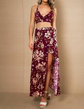 New Womens Ladies Sexy Summer Beach Floral Crop Top & Maxi Skirt Set Size SML