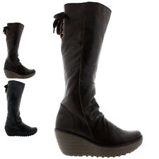 Ladies Fly London Yust Leather Winter Snow Wedge Heel Knee High Boots All Sizes