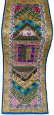 INDIAN VINTAGE DRESSES PATCH WORK LACE EMBROIDER WALL HANGING RUNNER TAPESTRY