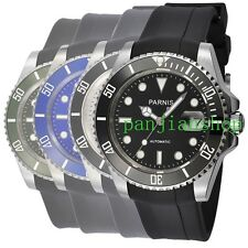 Parnis 40mm Sapphire Glass Ceramic Bezel Rubber Strap Men Miyota Automatic Watch