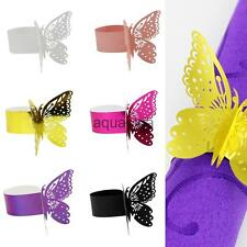 50pcs Napkin Ring Butterfly Paper Wedding Party Band Serviette Holder 6 Colors