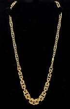"""14K Yellow Gold Hollow 18"""" Byzantine & Figaro Style Chain Necklace 9.2 g Jewelry"""