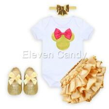 4PCS Minnie Baby Infant Girl Romper Shiny Headband+Shoes+Ruffle Pant Outfit Set