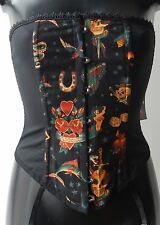 Living Dead Souls black and yellow tattoo print overbust corset with suspenders