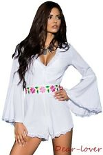 New Bell Sleeve Scalloped Lace Trim Belted Playsuits Sexy Women Jumpsuit Rompers