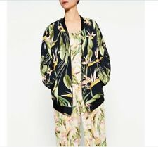 Fashion Women Side Pockets Leaf Printed Baseball Bomber College Jacket Coat