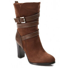 NEW WOMENS LADIES KNEE MID HIGH BLOCK HEEL CALF ANKLE BOOTS SHOES SIZE 3-8