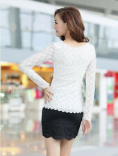 Casual Long Sleeve Top Fashion  T-Shirt Women Lace Ladies O-neck Blouse Stretch
