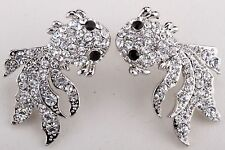 Goldfish Stud Dangle Earrings Crystal Rhinestone Sea Animal Fashion Jewelry EA18
