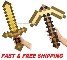 Minecraft Large Gold Sword Pickaxe axe EVA Weapons Plush Doll Soft Toys