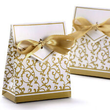 Wedding Favour Candy Boxes Gift Boxes With Ribbons 50pcs Gold Silver