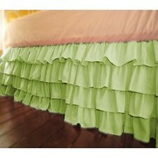 Home Decor Multi Ruffle Bed Skirt/Valance Drop 8 To 30 Inch Sage Solid