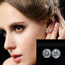 New Chic 18K Crown Crystal Princes White Gold Plated Ear Stud Earring Jewelry