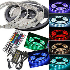 5M 5050 SMD 300LED Flexible Strip Light Waterproof Power Supply Remote White RGB