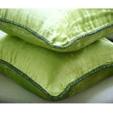Lime Green Solid Color Cushion Cover, 50x50 cm Velvet Cushioncase - Green Lime